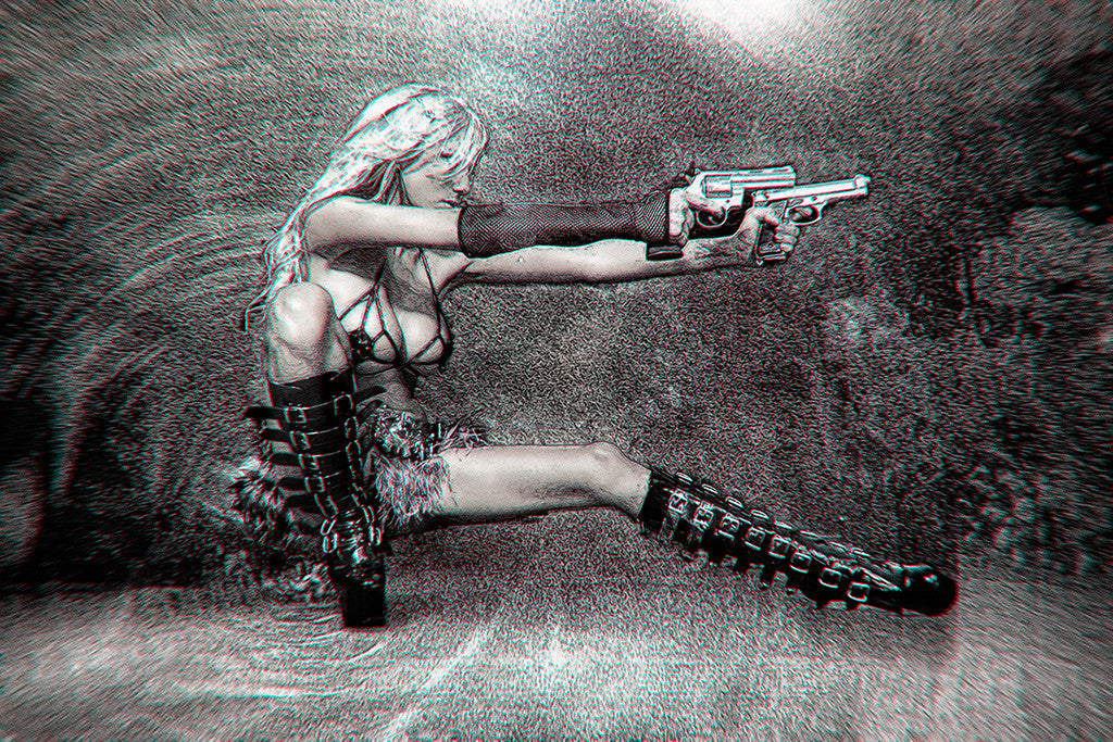 Hot Girl Blonde Gun Weapon Black and White Poster