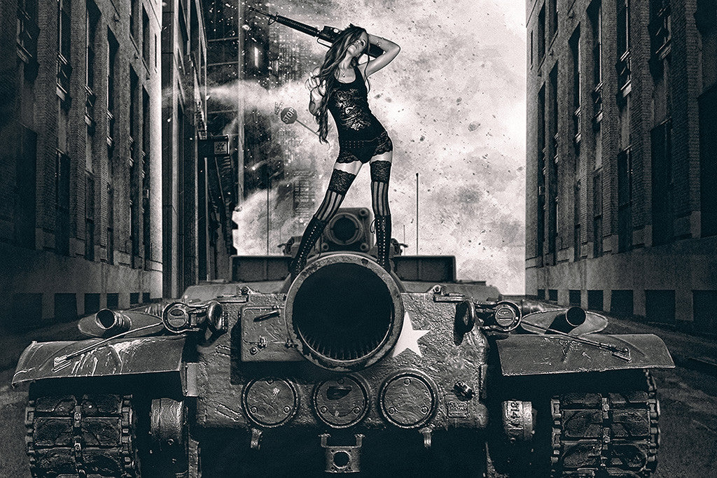 Tank Hot Girl Gun Weapon Black and White Poster