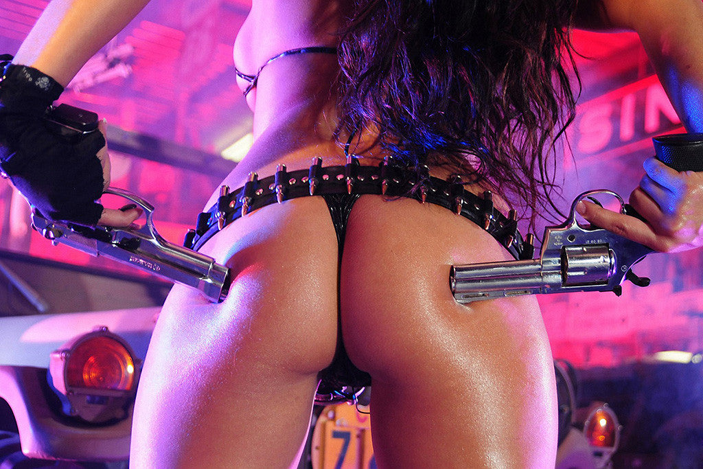 Guns Bullets Weapon Hot Girl Poster