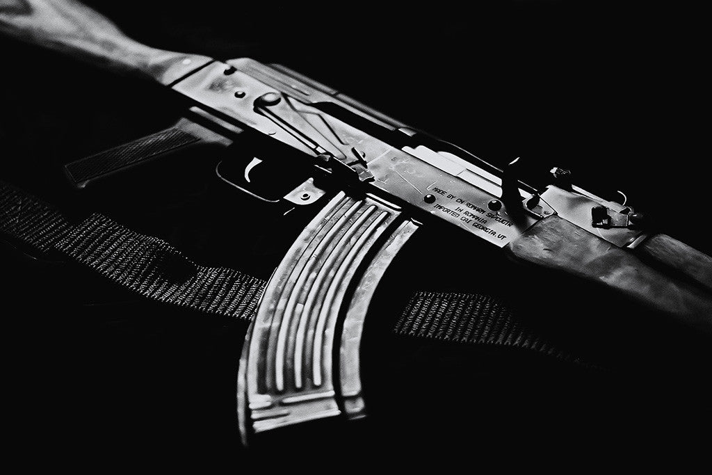 Kalashnikov Rifle Weapon Black and White Poster