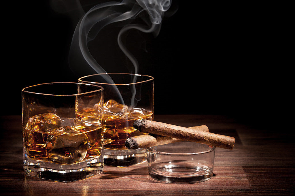 Glass Of Whiskey Cigar Poster