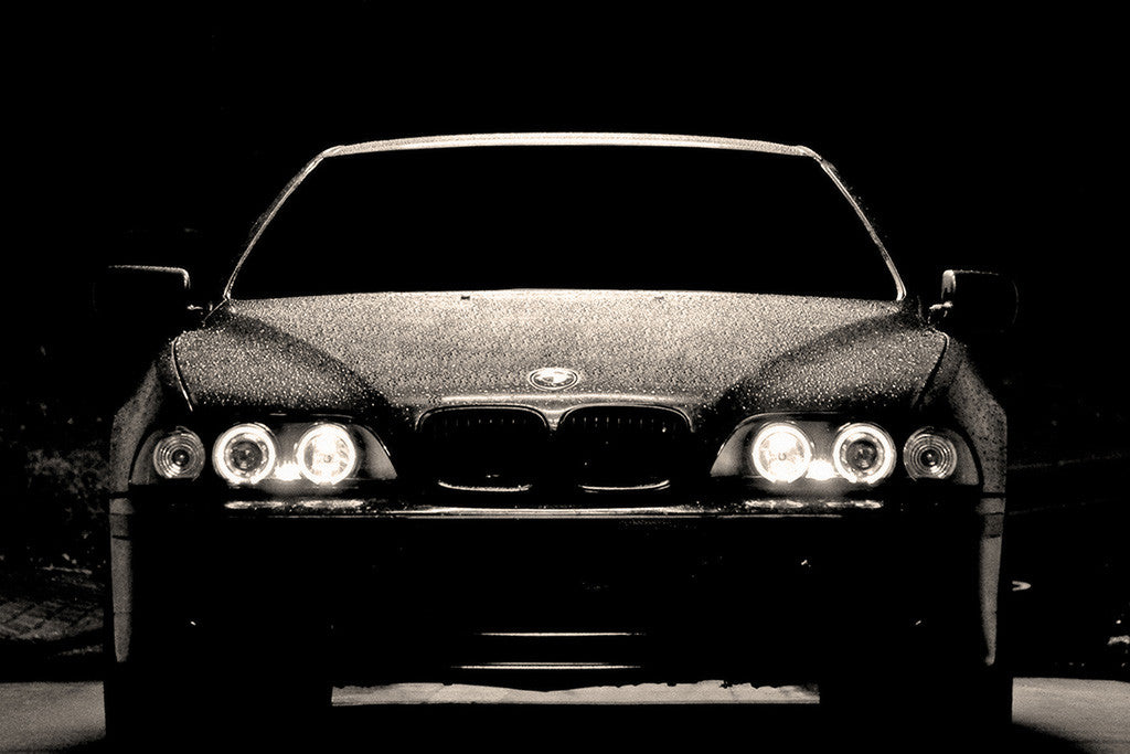 BMW 5 Series E39 Angel Eyes Black and White Poster