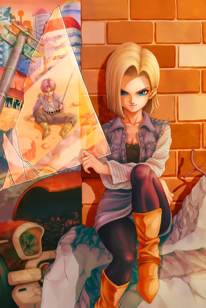 Dragon Ball Z Android 18 Vs Trunk Anime Poster
