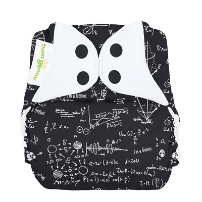 black and white mathematical print inspired by Albert Einstein bum genius pocket nappy