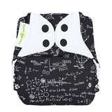 albert einstein inspired mathematical print all in one nappy by bum genius with poppers