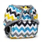 chevron print nappy cover with popper fastening