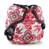pink white bird print nappy cover with popper fastening