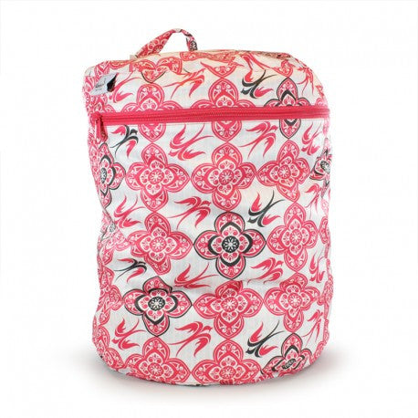bold pink white and black floral bird design wetbag for cloth nappy storage