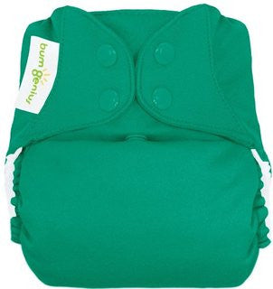 hummingbird jade green freetime all in one nappy by bum genius