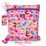 pink magic alice print wetbag for storing cloth nappies by Milovia