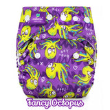 green and purple octopus print nappy cover by milovia coolmax