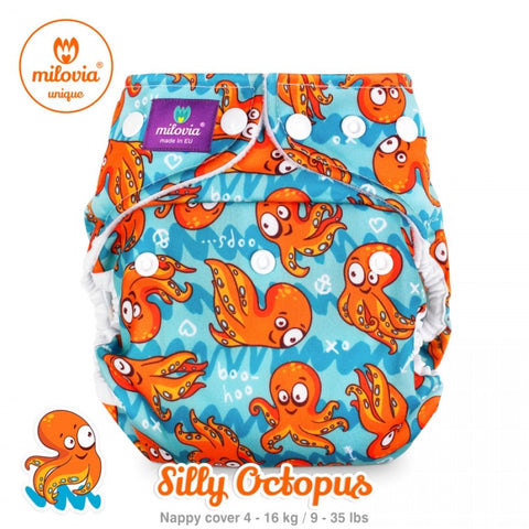 orange octopus print nappy cover by milovia