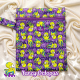 green and purple octopus print wetbag for storing cloth nappies by Milovia