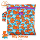 orange octopus print wetbag for storing cloth nappies by Milovia