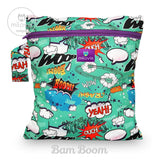 cartoon inspired comic book green bam boom print wetbag for storing cloth nappies by Milovia