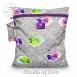 grey marl clouds of love print wetbag for storing cloth nappies by Milovia
