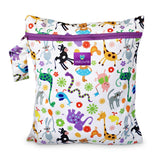 happy animal print wetbag for storing cloth nappies by Milovia