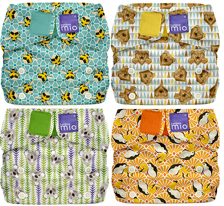 four fun geometric themed all in one nappies from Bambino Mio