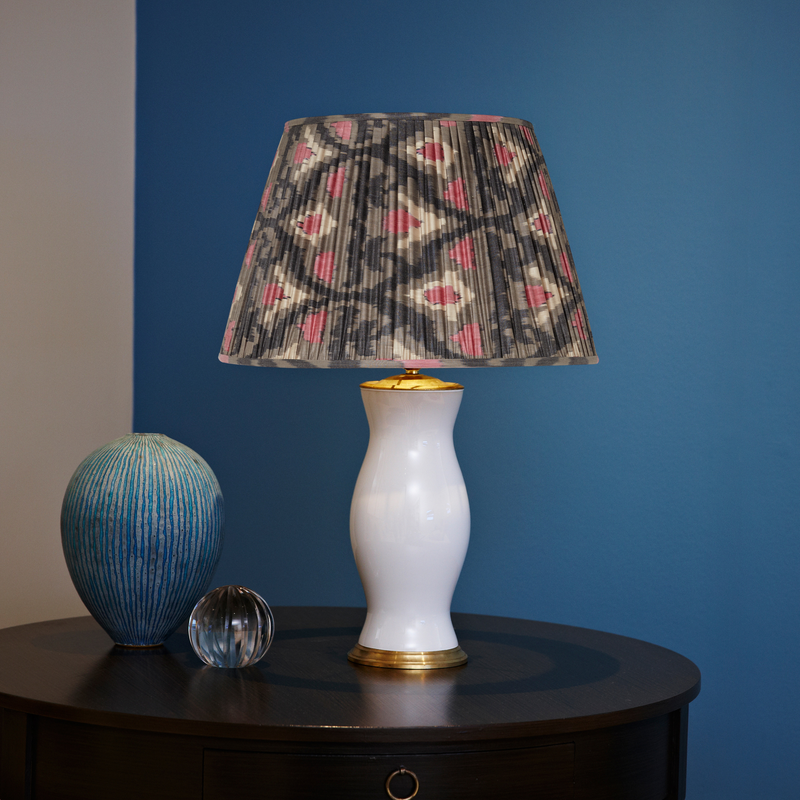 GREY SILK IKAT LAMPSHADES