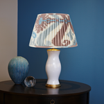 BLUE AND TERRACOTTA SILK IKAT LAMPSHADE