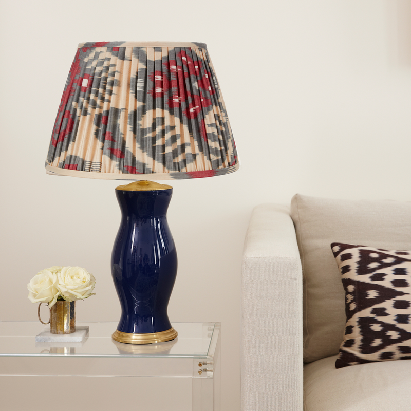 "BLUE AND MAGENTA IKAT LAMPSHADE- ONLY 2 X 6"", 1 X 18"" AND 1 X 20"" LEFT"