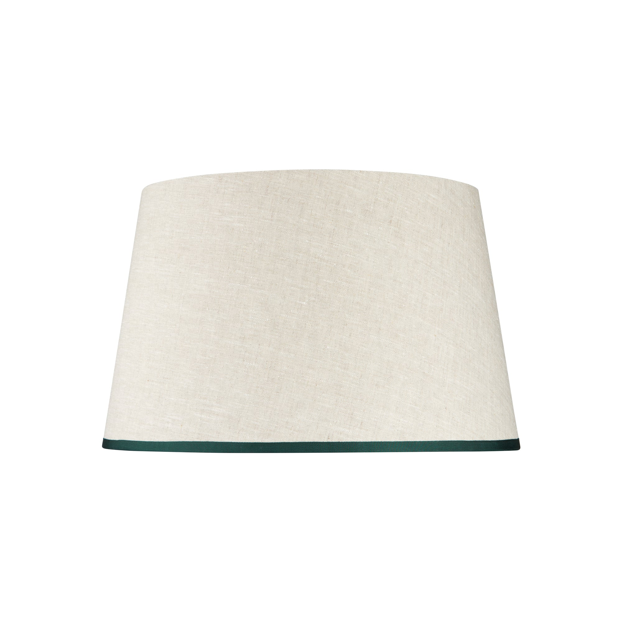 STRETCHED LINEN LAMPSHADE WITH RIBBED ARTICHOKE GREEN TRIM