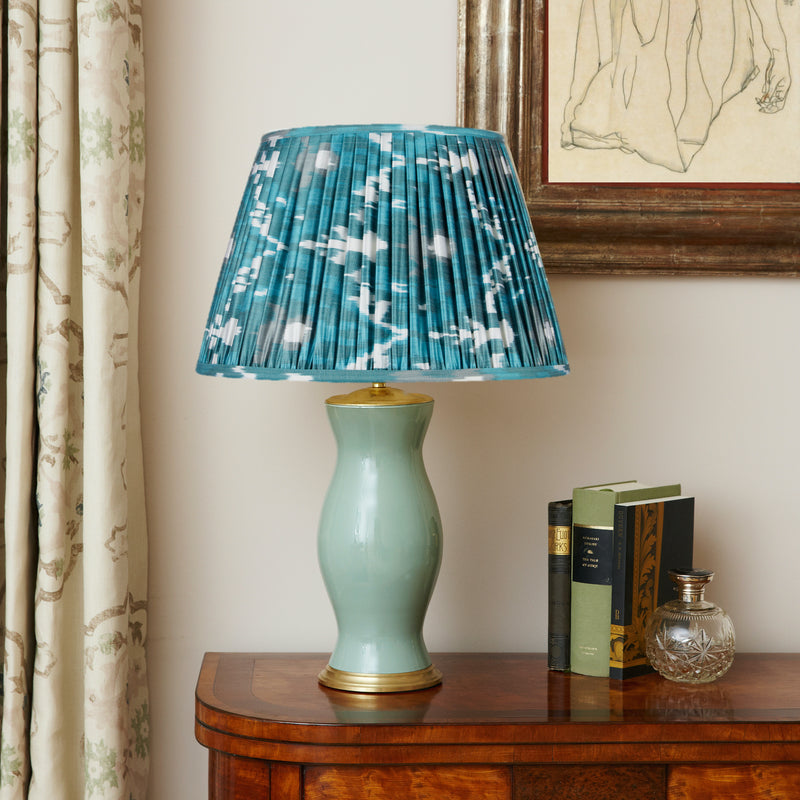 VERDIGRIS AND JADE GREEN SILK IKAT LAMPSHADES