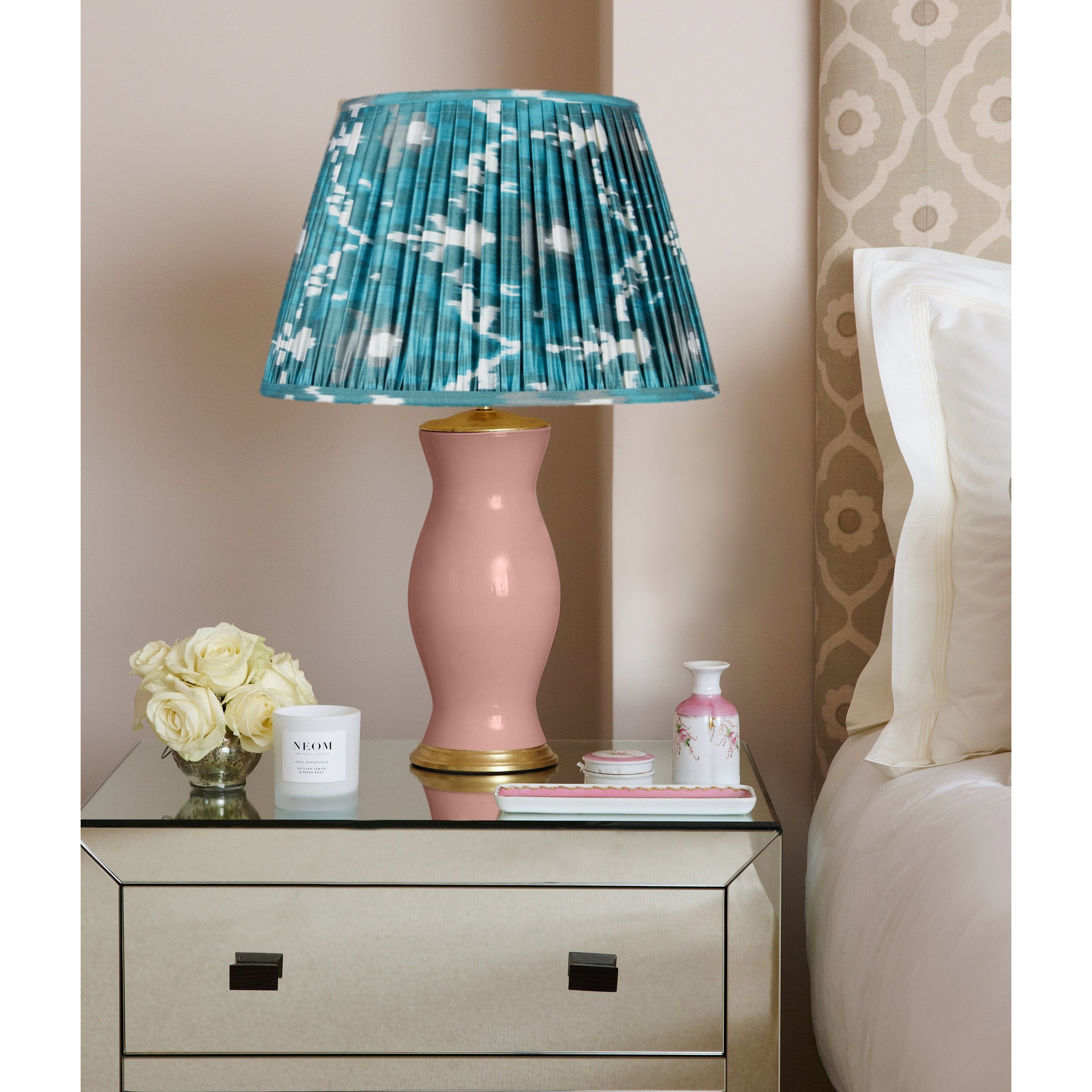 Verdigris and Jade Green Silk Ikat Lampshades Client Shot