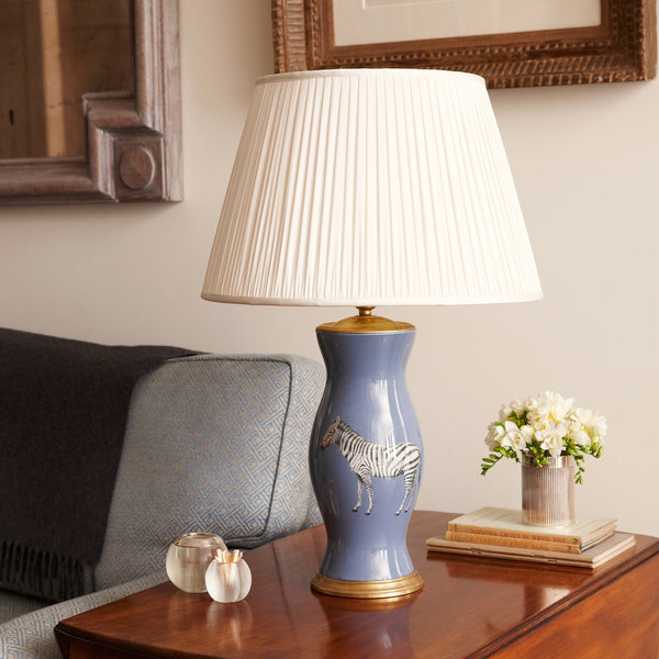Medium gathered silk lampshade in cream