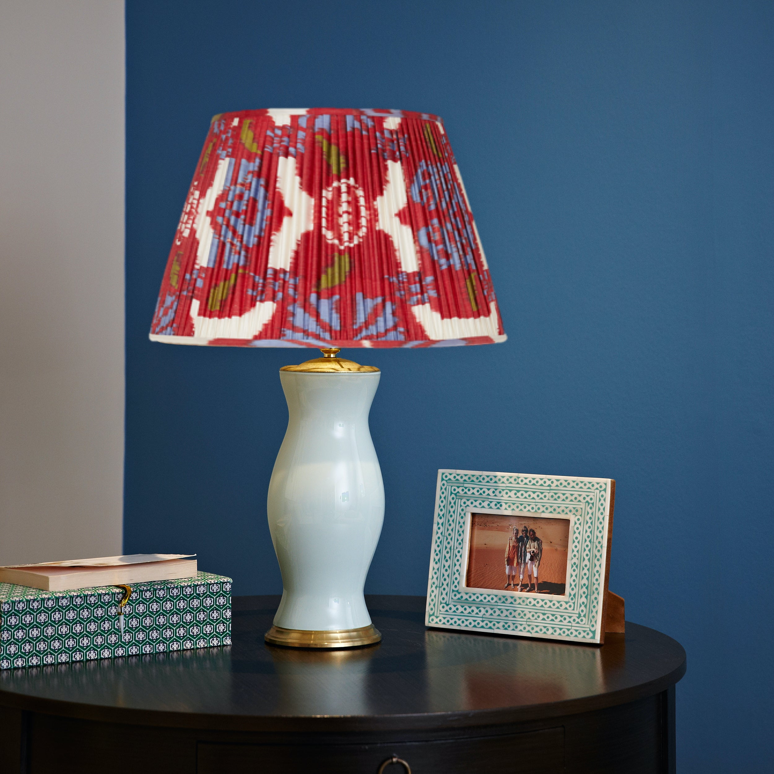 Red Silk Ikat Lampshades