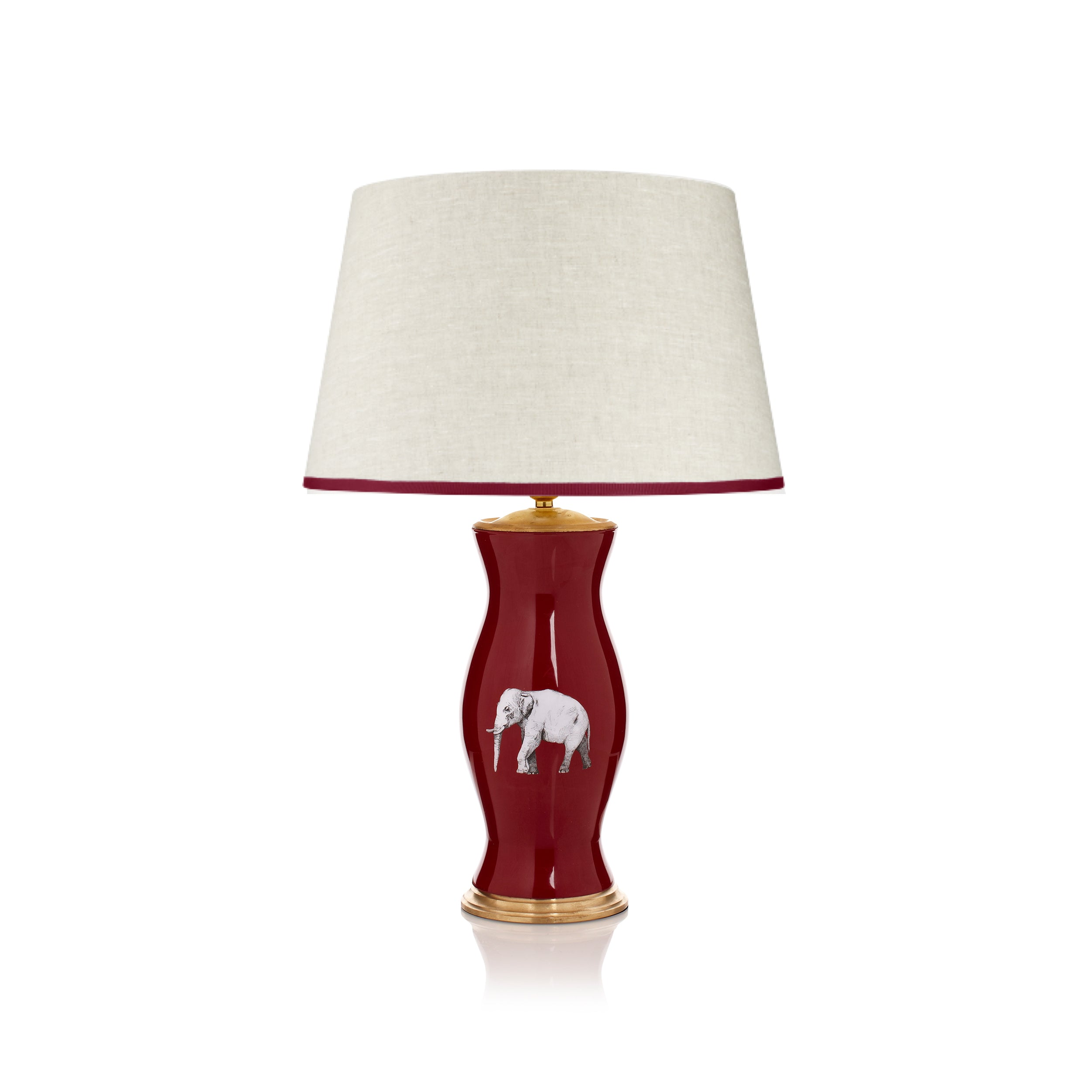 STRETCHED LINEN LAMPSHADE WITH RED LETTER DAY TRIM