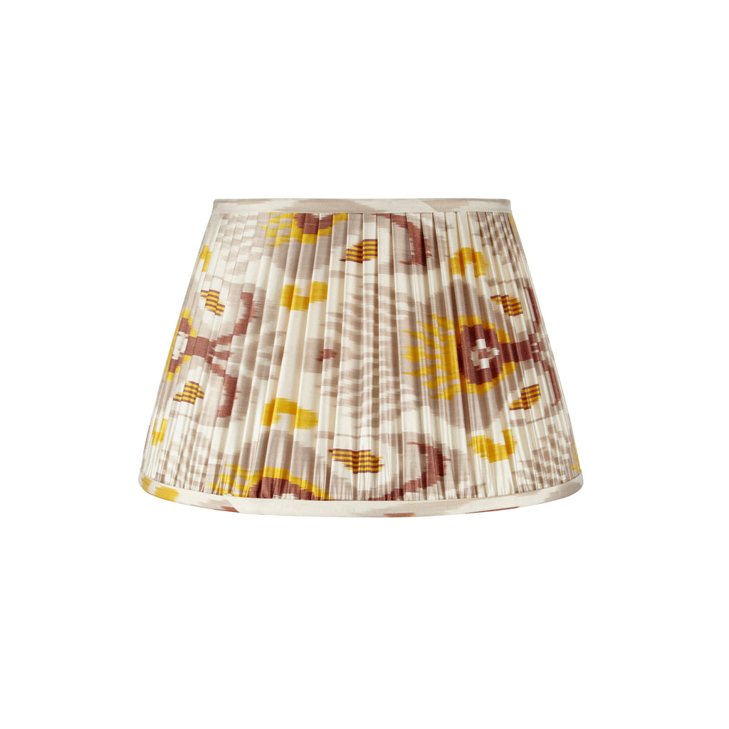 Grey and Mustard Yellow Silk Ikat Lampshades