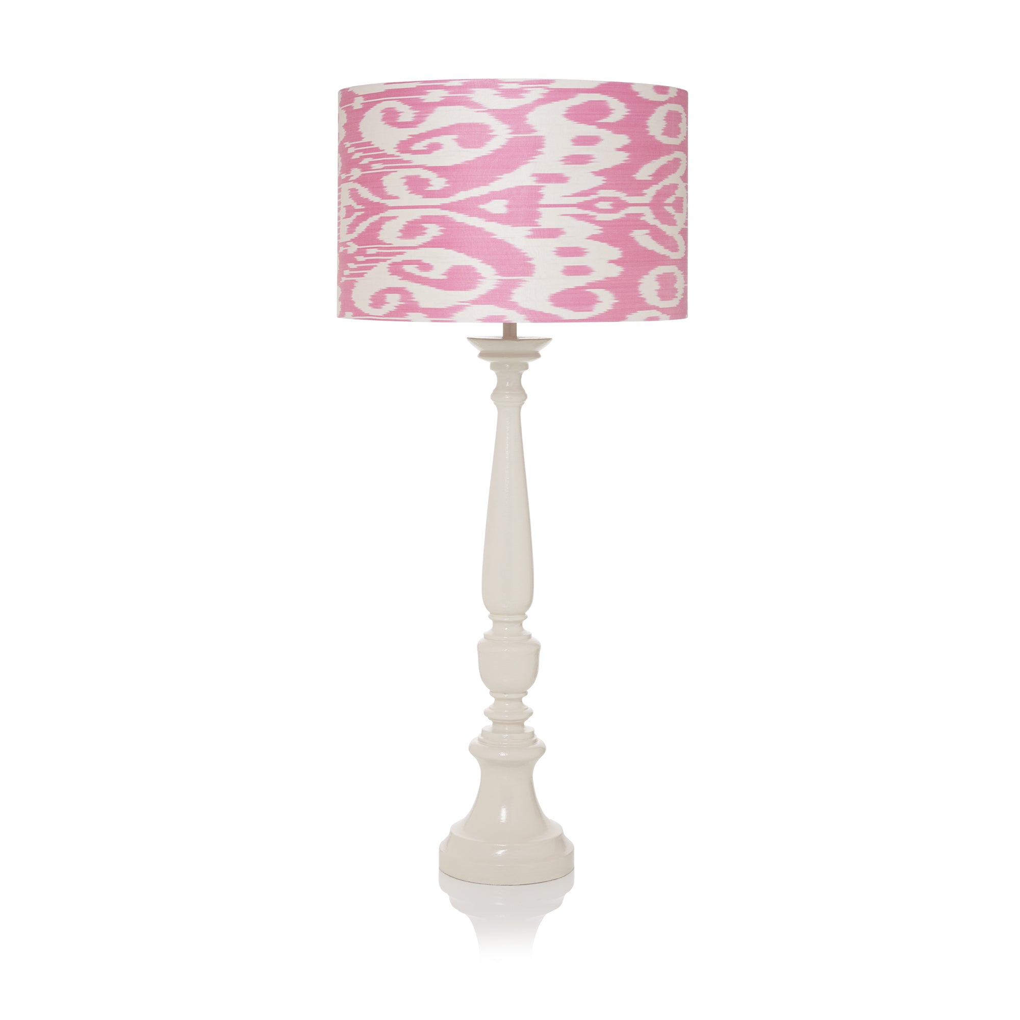 Large Stretched Pink Ikat Lampshade Shot - only 1 left