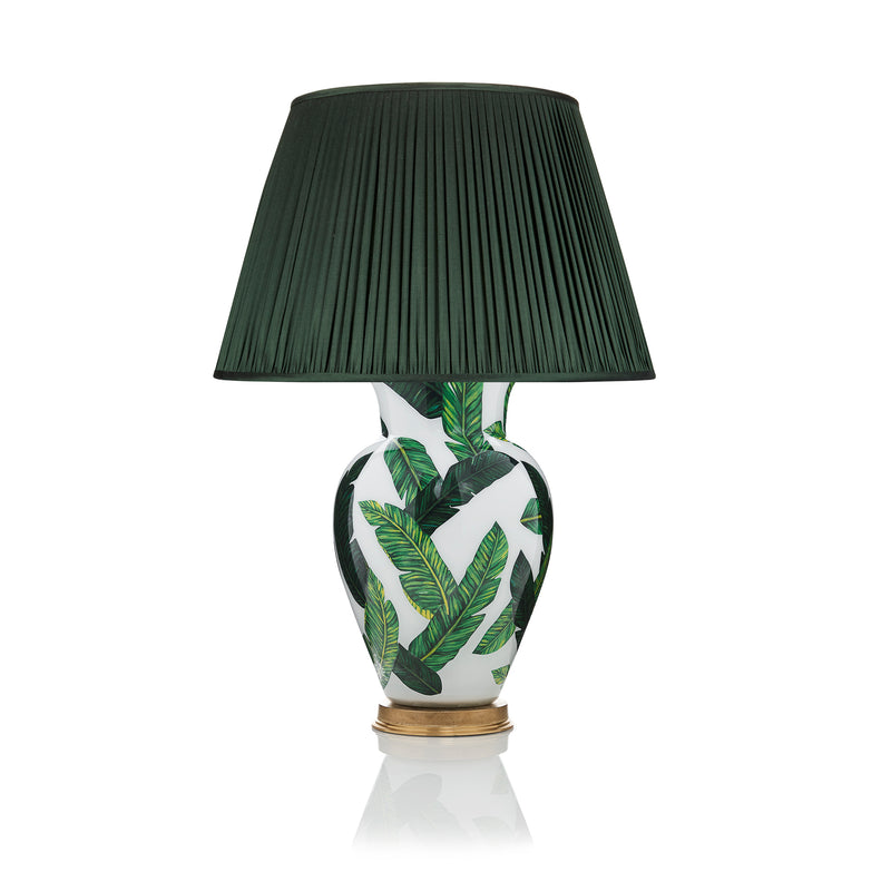PLEATED SILK LAMPSHADE IN FOREST GREEN