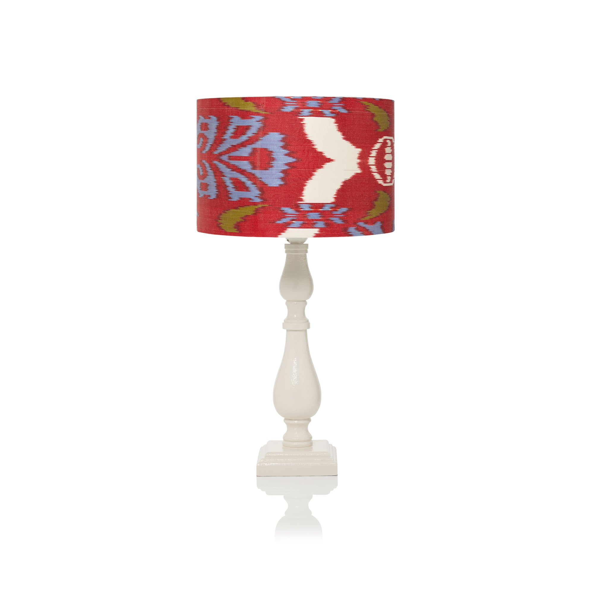 MEDIUM STRETCHED RED AND BLUE IKAT LAMPSHADE