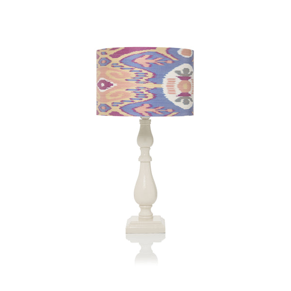 Medium Stretched Blue and Peach Ikat Lampshade - only 2 left