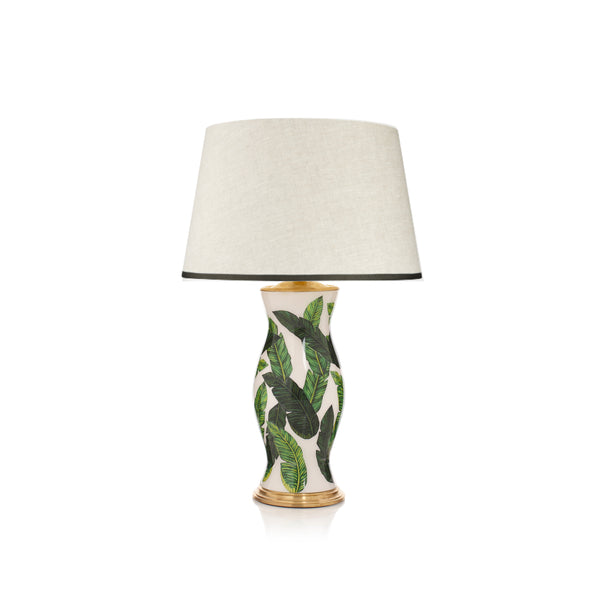 Stretched Linen Lampshade with Ribbed Cloud Green Trim