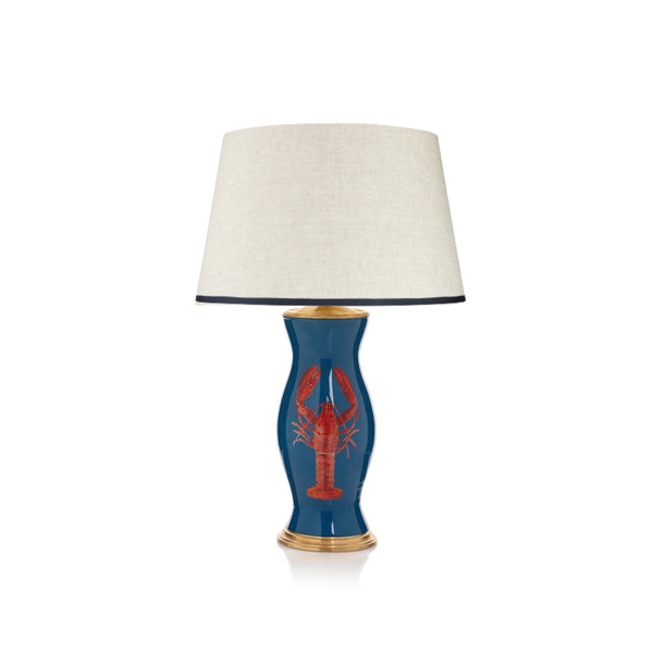Stretched Linen Lampshade with ribbed Singing the Blues Trim