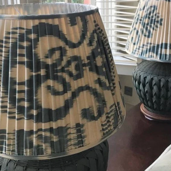 Light Blue and Dark Blue Silk Ikat Lampshades Shot