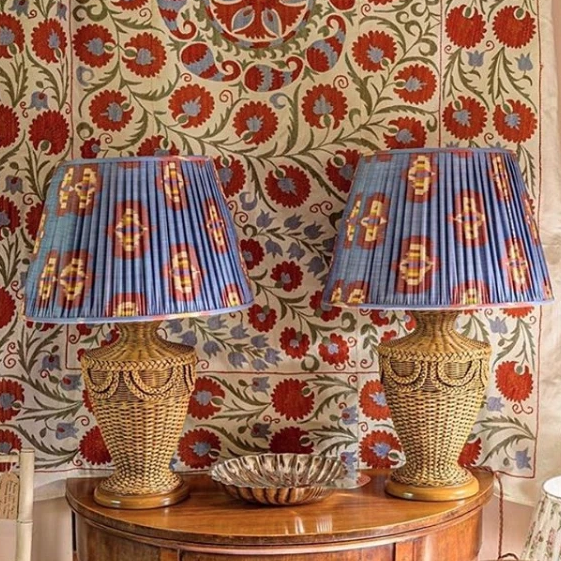Blue Silk Ikat Lampshades Shot