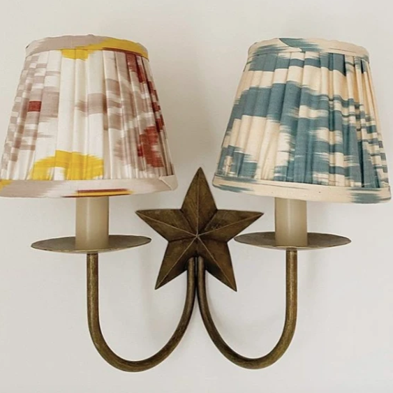 Grey and Mustard Yellow Silk Ikat Lampshades Shot