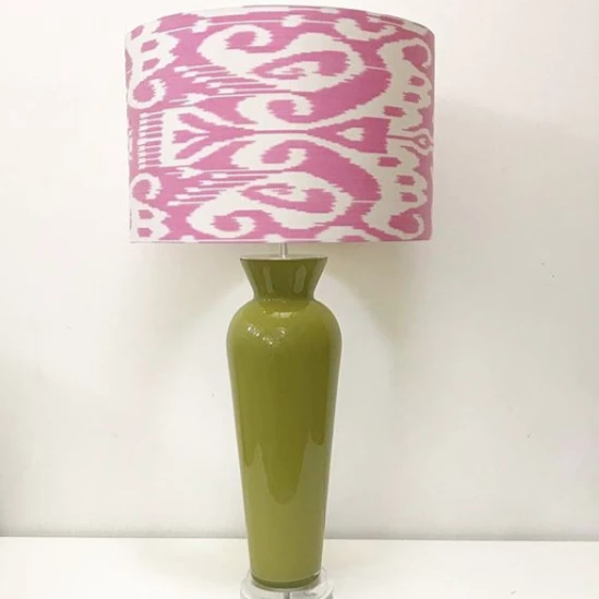 Large Stretched Pink Ikat Lampshade Shot