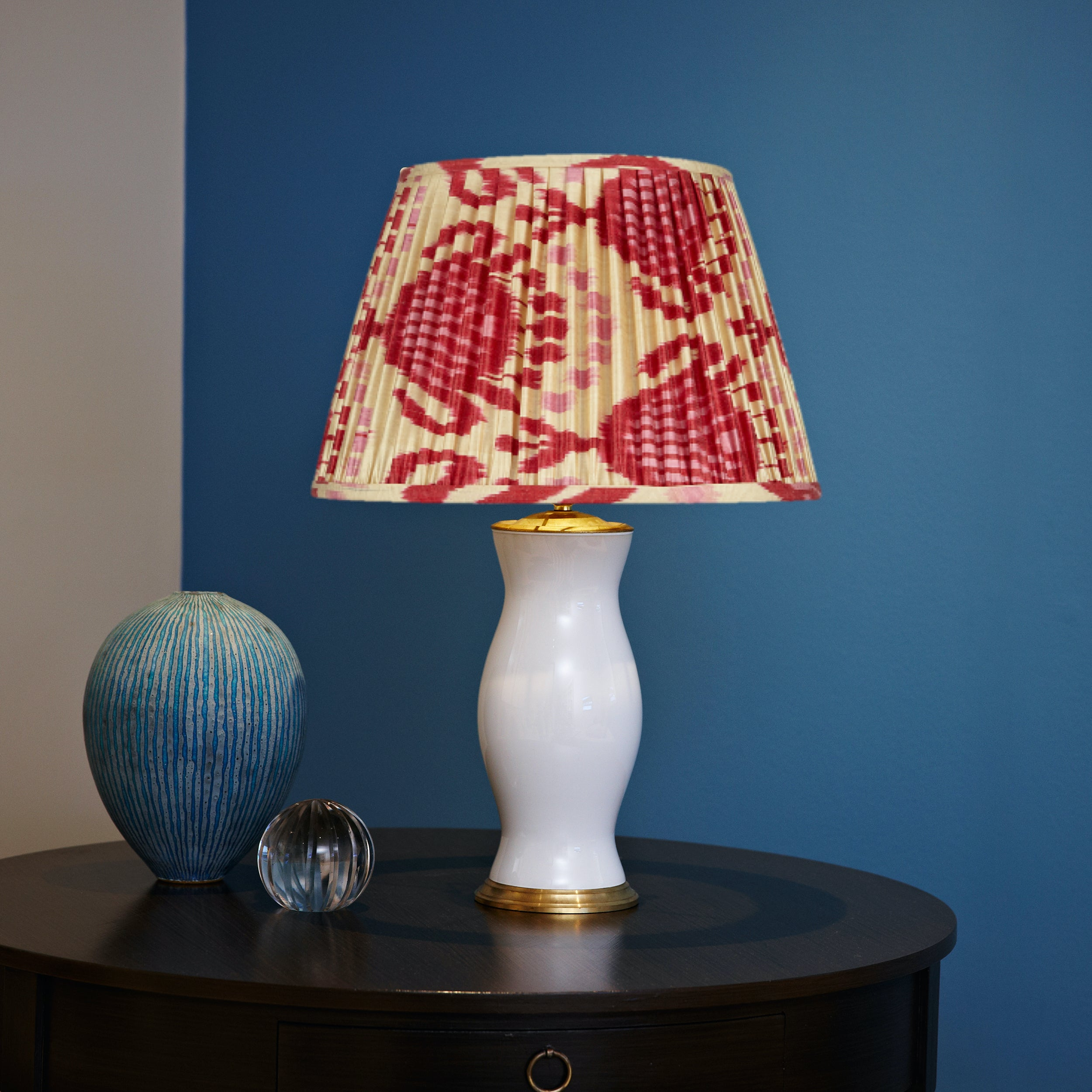 Pink and Red Silk Ikat Lampshades Client Shot