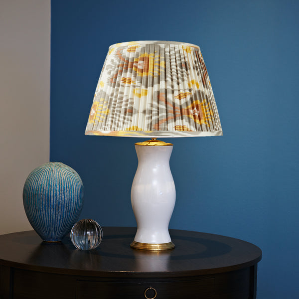 GREY AND YELLOW SILK IKAT LAMPSHADES (one 1 left in 20