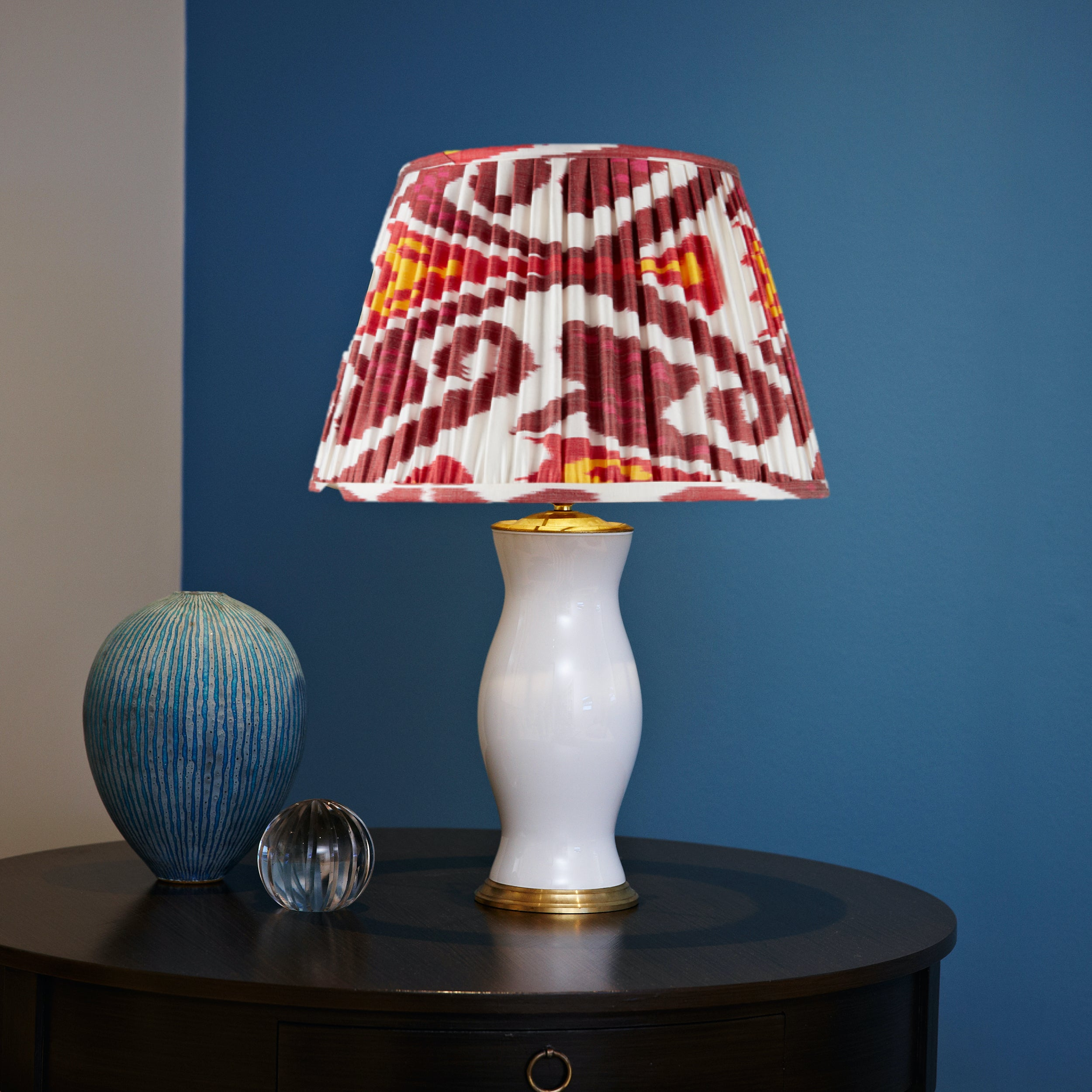BURGUNDY AND MAGENTA SILK IKAT LAMPSHADES