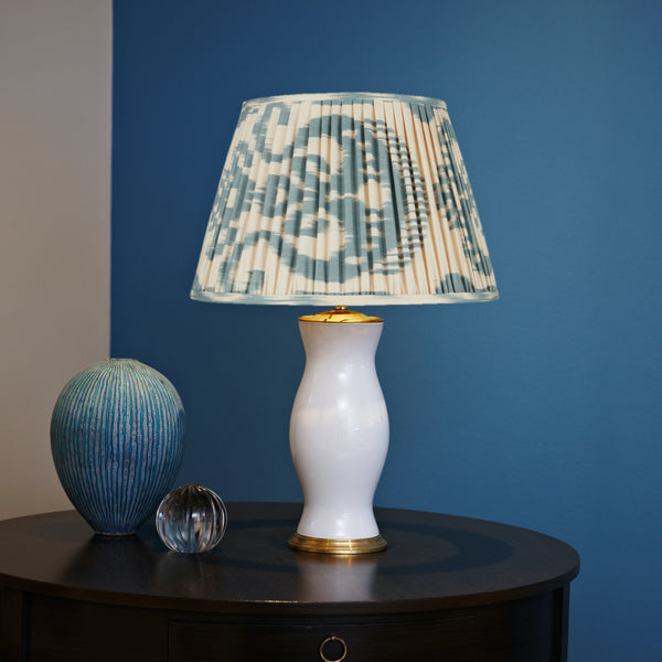 Blue and Cream Ikat Lampshades Shot
