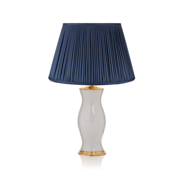 Pleated Silk Lampshade in Charcoal Blue