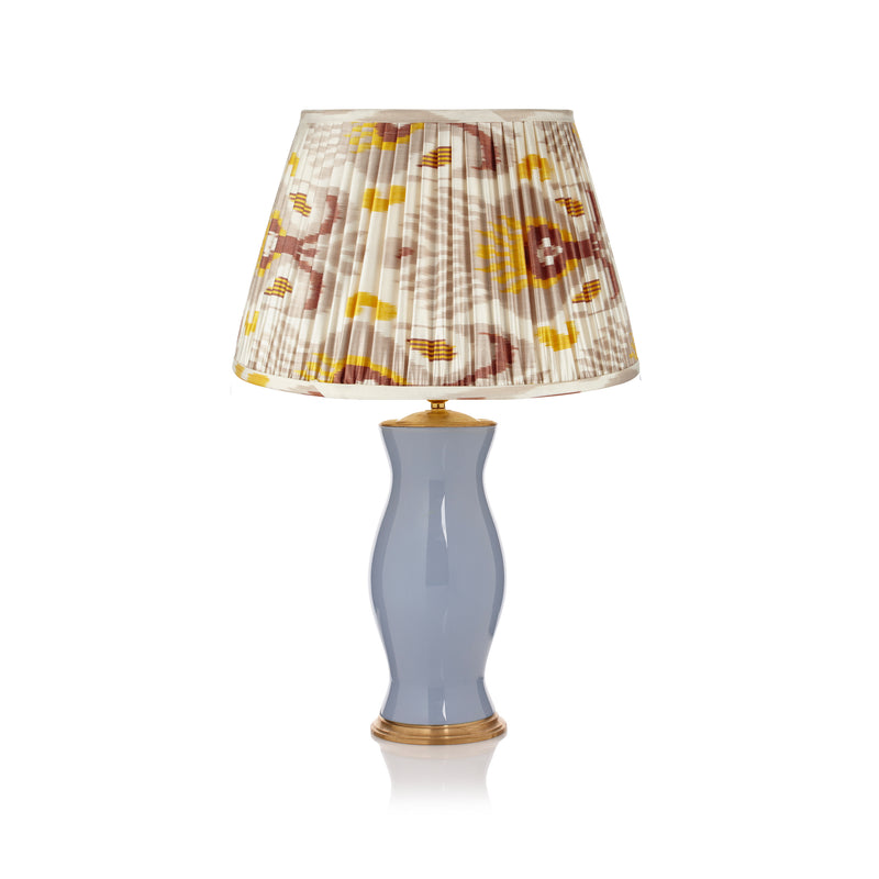 "GREY AND MUSTARD YELLOW SILK IKAT LAMPSHADES (ONLY 2 LEFT IN 16"")"