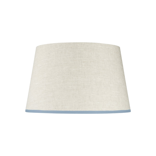 Stretched Linen Lampshade with Sky Blue Trim