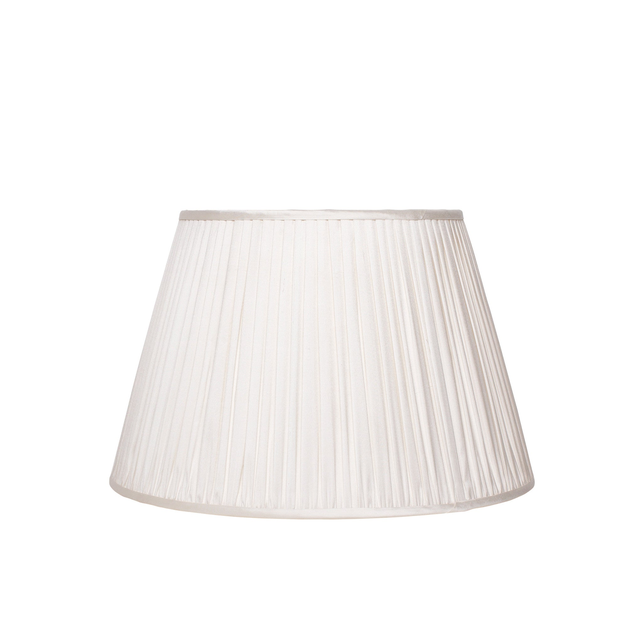 Medium gathered silk lampshade in ivory